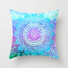 Vivid Blues Mandalas Throw Pillow