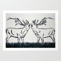Two Caribou  Art Print