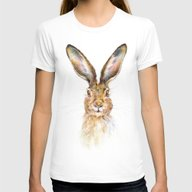 HARE Womens Fitted Tee White SMALL
