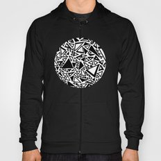 Dark Black and White Triangles Doodle Hoody