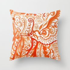 orange brushstroke Throw Pillow