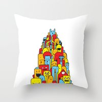 Monster Tower Throw Pillow