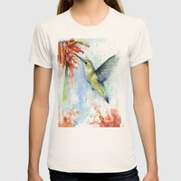 Hummingbird and Red Flower Watercolor Womens Fitted Tee Natural SMALL