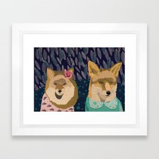 Stylish foxes Framed Art Print