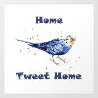 Funny Animals, budgie, bird paintings, bird art, new home decor, bird watercolor Art Print