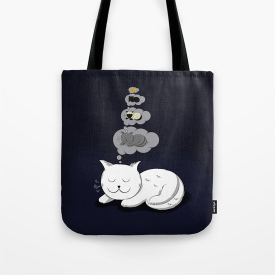 A cat dreaming of a cat that dreams of dreaming of a cat that dreams of dreaming of a cat. Tote Bag