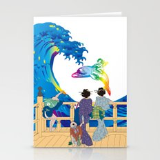 Hokusai People seeing Big Wave & the Angel riding a dolphin Stationery Cards