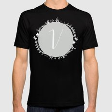 Garland Initial V - Grey Mens Fitted Tee Black SMALL