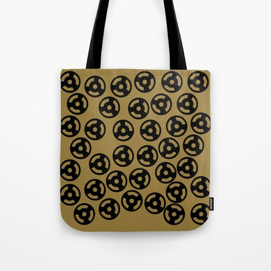 Discs Black on Gold Tote Bag