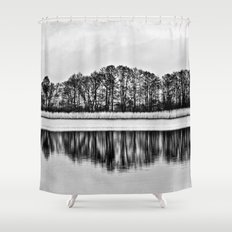 White Symphony of Winter Lake Shower Curtain