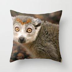 Female Crowned Lemur Throw Pillow