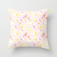 Yellow Birds Throw Pillow