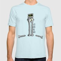 I Will Never Hug Again Mens Fitted Tee Light Blue SMALL