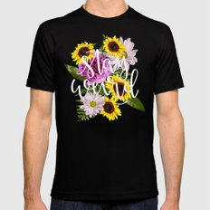 Stay Weird in Flowers // Hand Lettering SMALL Mens Fitted Tee Black