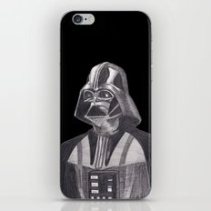 Darth Vader [Grayscale on Black] Pencil iPhone & iPod Skin