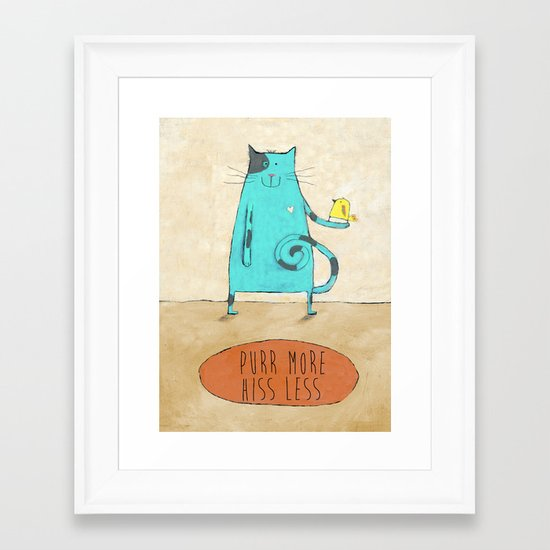 Purr More Hiss Less Framed Art Print