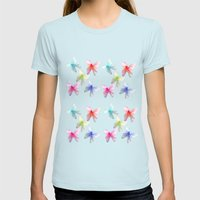 Colorful flowering butterflies. Floral photo art. Womens Fitted Tee Light Blue SMALL