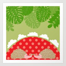 hedge-hug Art Print