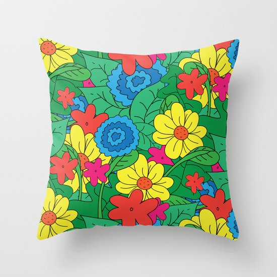 Vector Flowers Throw Pillow
