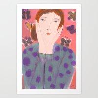 Girl In Polka Dot Sweate… Art Print