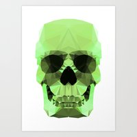 Polygon Heroes - Emerald Skull Art Print