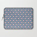 Navy Blue and Coral Diamond Ikat Pattern Laptop Sleeve