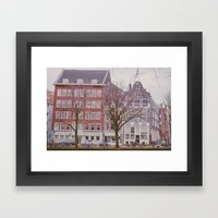 A rainy day in Amsterdam Framed Art Print