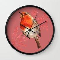 Winter Herald, Robin, Robin Redbreast, Christmas Bird Wall Clock