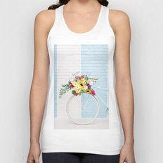 Floral Bicycle Stripe Wall Unisex Tank Top