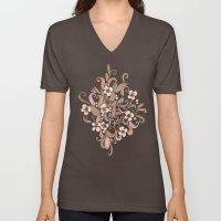Floral curve pattern, rose gold Unisex V-Neck