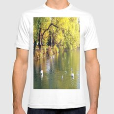 Autumn Mood at Lake SMALL Mens Fitted Tee White