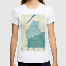 Maine State Map Blue Vintage Womens Fitted Tee Ash Grey SMALL