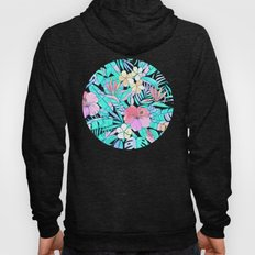 Pretty Pastel Hawaiian Hibiscus Print Hoody