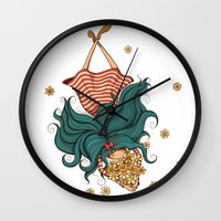 Girl and flowers Wall Clock