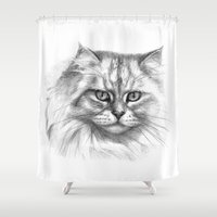 Expressive glance cat G132 Shower Curtain