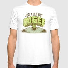 Just a Friendly Queef White SMALL Mens Fitted Tee