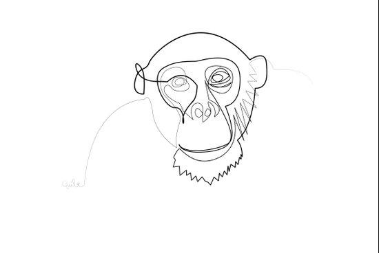 One line monkey Art Print