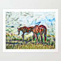 Abstract Horses In Paddo… Art Print