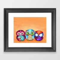 Autumn Owl Trio Framed Art Print