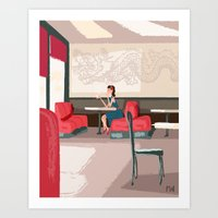 Art Print featuring Sipping Green Tea at the Sushi House by David Finley