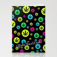 GGDUB - Neon Weed Leaf  Stationery Cards