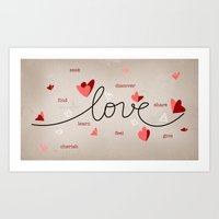 Love, Butterfly Hearts & Text Unique Valentine Art Print