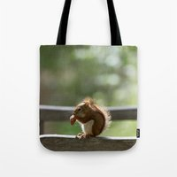 Red Squirrel Snack Time Tote Bag
