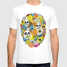 Halloween Print White Mens Fitted Tee SMALL