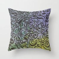 Blue vines  Throw Pillow