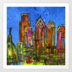 Philly Neon Skyline Art Print