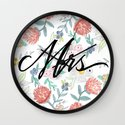 Mrs. - Calligraphy + Watercolor Floral  Wall Clock