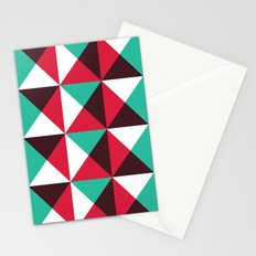 Red, turquoise, black triangle pattern Stationery Cards