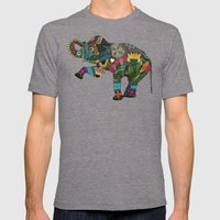 Asian Elephant White Mens Fitted Tee Tri-Grey SMALL