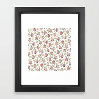 Pattern: Strawberries & Hearts Framed Art Print